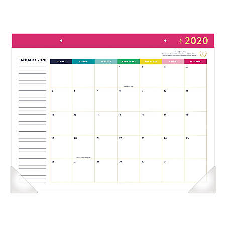 """Emily Ley Simplified® Happy Stripe Monthly Desk Pad Calendar, 22"""" x 17"""", January To December 2020, EL300-704"""