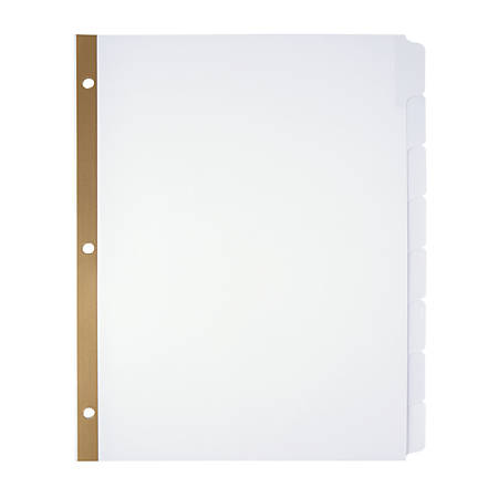 Office Depot® Brand Erasable Big Tab Dividers, 8-Tab, White, Pack Of 2 Sets