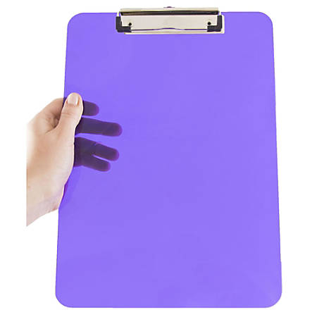 """JAM Paper® Plastic Clipboards with Metal Clip, 9"""" x 13"""", Purple, Pack Of 12"""
