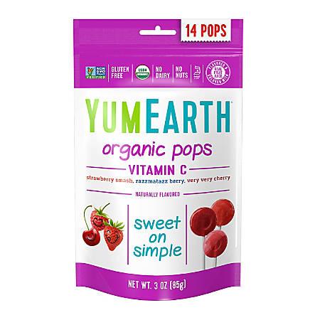 Yummy Earth Organic Vitamin C Lollipops, 3 Oz, Pack Of 6 Bags