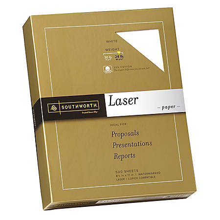 """Southworth® 25% Cotton Laser Paper, 8 1/2"""" x 11"""", FSC® Certified, 55% Recycled, 24 Lb, White, Box Of 500"""