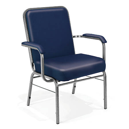 OFM Big And Tall Comfort Class Series Anti-Microbial Anti-Bacterial Arm Chairs, Navy, Set Of 4
