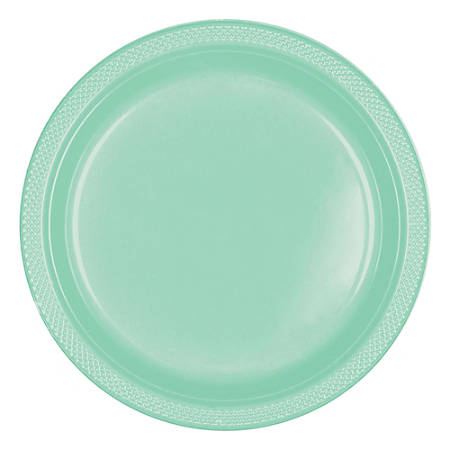 """Amscan Round Plastic Plates, 7"""", Cool Mint, Pack Of 80 Plates"""