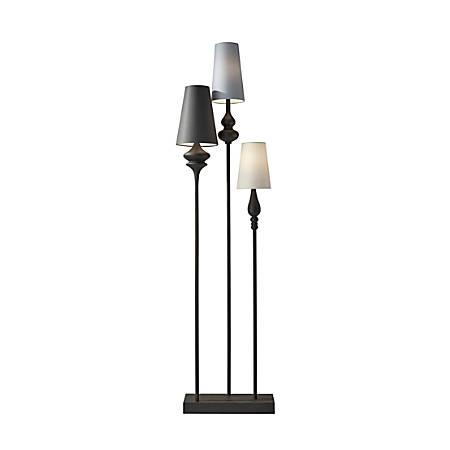 "Adesso® Jasmine Floor Lamp, 64""H, Multicolor Shades/Antique Bronze Base"