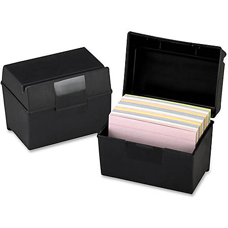 "Oxford Plastic Index Card Boxes with Lids - External Dimensions: 6"" Width x 4"" Height - 400 x Card - Flip Top Closure - Plastic - Black - For Card - 1 Each"