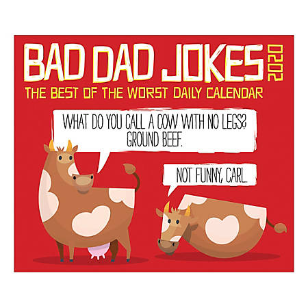 "Willow Creek Press Page-A-Day Daily Desk Calendar, 5-1/2"" x 6-1/4"", Bad Dad Jokes, January to December 2020, 08720"