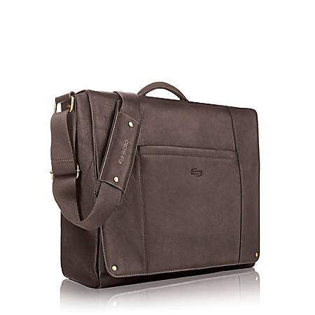 Solo® Hudson Leather Messenger Bag For Laptops, Espresso