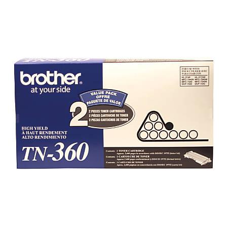 Brother® TN-360, Black Toner Cartridges, Pack Of 2
