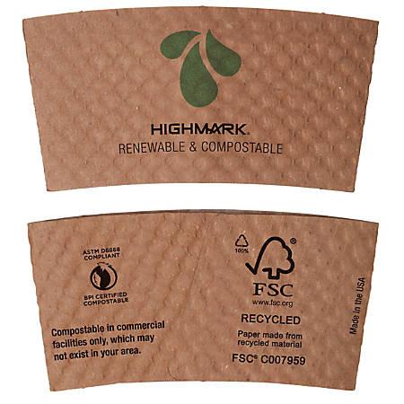 Highmark® Renewable Breakroom Hot Cup Sleeves, 85% Recycled, Kraft, Box Of 1,300