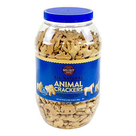 Wellsley Farms Natural Animal Crackers, 45 Oz Tub
