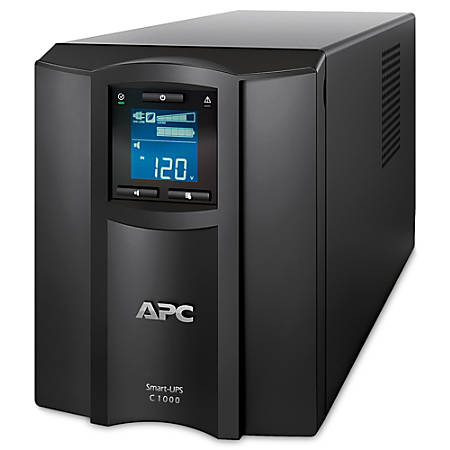 APC® Smart-UPS C 8-Outlet Tower With SmartConnect, 1,000VA/600 Watts, SMC1000C