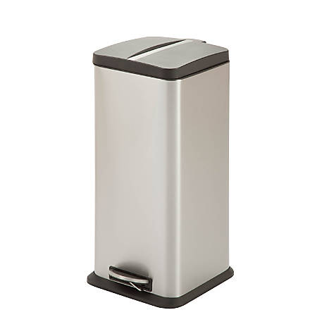 "Honey-Can-Do Square Stainless Steel Step Trash Can, 24 7/16""H x 11 1/4""W x 13 7/16""D"