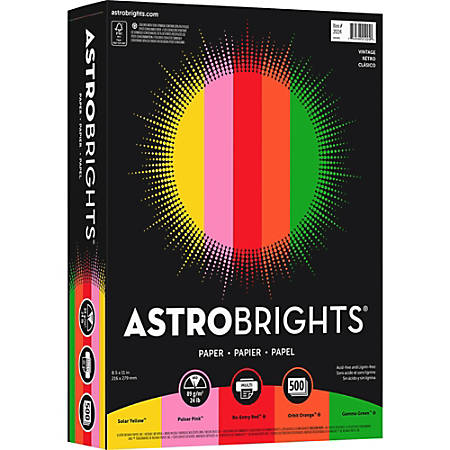 "Wausau Astrobrights® Bright Color Paper, Letter Size (8 1/2"" x 11""), 24 Lb, Assorted Colors, Ream Of 500 Sheets"