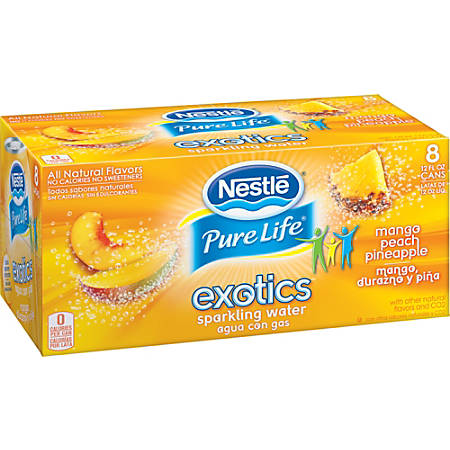 Nestlé Waters Pure Life Exotics Sparkling Water, Mango Peach Pineapple, 12 Oz, Case Of 24