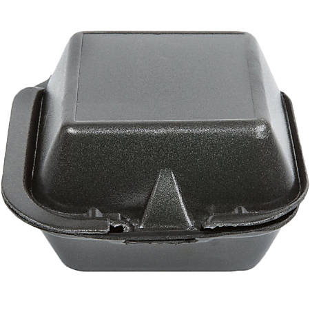 """GenPak Harvest Pro HP225 Hinged Sandwich Containers, 6"""" x 6"""", Black, Pack Of 400 Containers"""