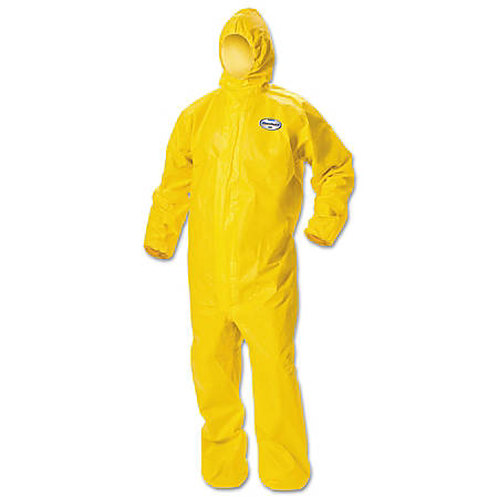 Kimberly-Clark® Professional KLEENGUARD A70 Chemical-Splash Hooded Protection Coveralls, Large, Yellow, Pack Of 12 Coveralls