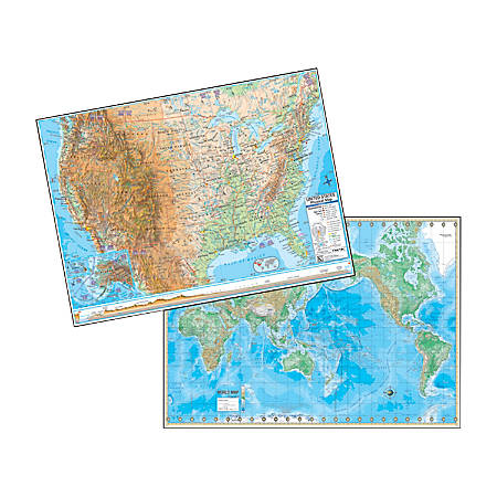 """Kappa Map Group U.S. And World Physical Rolled Laminated Map Set, 48"""" x 36"""""""