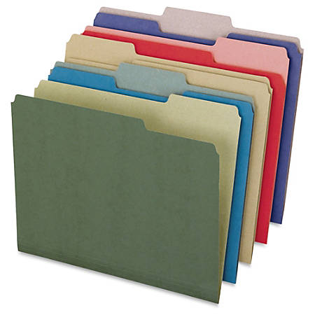 """Pendaflex Recycled Colored File Folders - Letter - 8 1/2"""" x 11"""" Sheet Size - 1/3 Tab Cut - Assorted Position Tab Location - 11 pt. Folder Thickness - Paper Stock - Green, Blue, Natural, Red, Violet - Recycled - 50 / Box"""