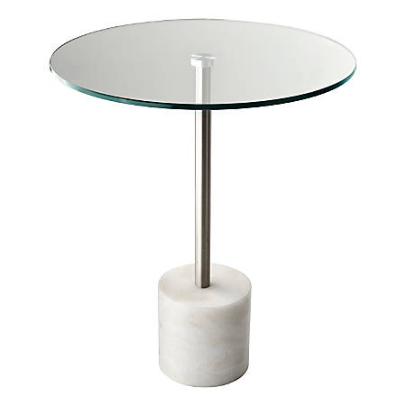 """Adesso® Blythe End Table, Round, 21""""H x 17-3/4""""W x 17-3/4""""D, Clear/White"""