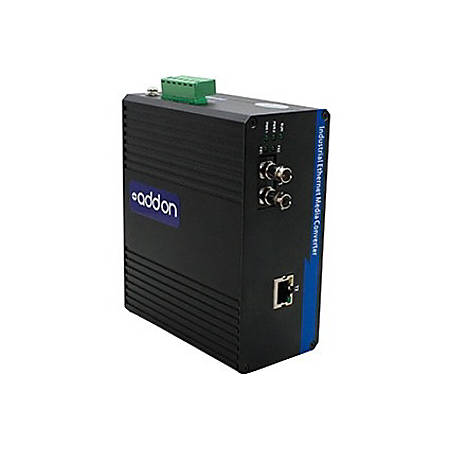 AddOn 1 10/100Base-TX(RJ-45) to 1 100Base-LX(ST) SMF 1310nm 20km Industrial Media Converter - 100% compatible and guaranteed to work