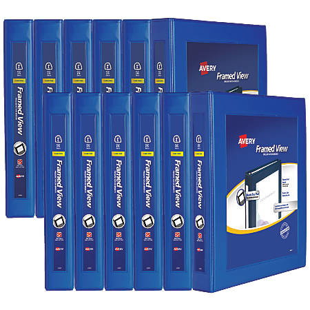 "Avery® Frame View Heavy-Duty EZD Ring Binders, 1"" Rings, 37% Recycled, Navy Blue, Case Of 12 Binders"