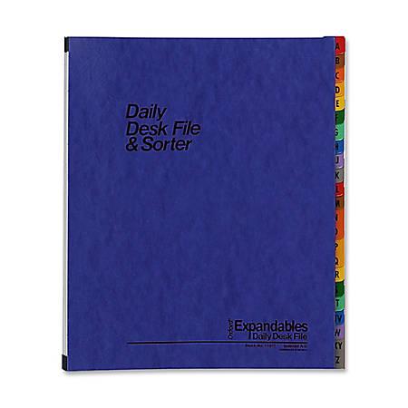 Oxford® A-Z Desk File/Sorter, Letter Size, Black/Blue