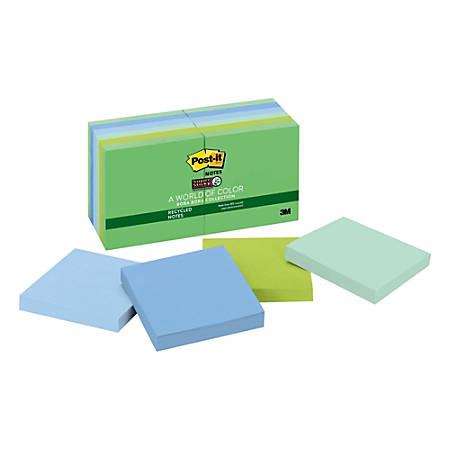 """Post-it® Super Sticky Recycled Notes, 3"""" x 3"""", Bora Bora, Pack Of 12 Pads"""