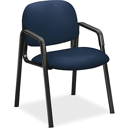 "HON Solutions Seating Guest Chair, Arms - Navy Seat - Navy Back - Steel Black Frame - Four-legged Base - 20"" Seat Width x 18"" Seat Depth - 23.5"" Width x 24.5"" Depth x 32"" Height"