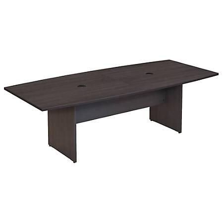 """Bush Business Furniture 96""""W x 42""""D Boat Shaped Conference Table with Wood Base, Storm Gray, Standard Delivery"""