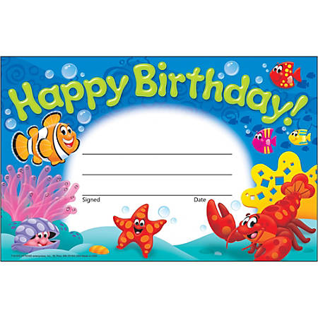 "Trend Happy Birthday Sea Buddies Awards - 8.50"" x 5.50"" - Multicolor30 / Pack"