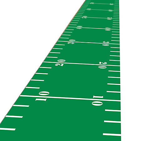 Amscan Fabric Football Entryway Floor Runners, 10' x 2', Green/White, Pack Of 3 Runners