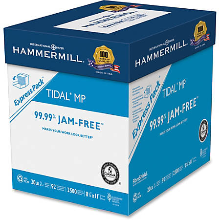 """Hammermill Tidal Laser, Inkjet Print Copy & Multipurpose Paper - Letter - 8 1/2"""" x 11"""" - 20 lb Basis Weight - Recycled - 10% Recycled Content - Smooth - 92 Brightness - 200000 / Pallet - White"""