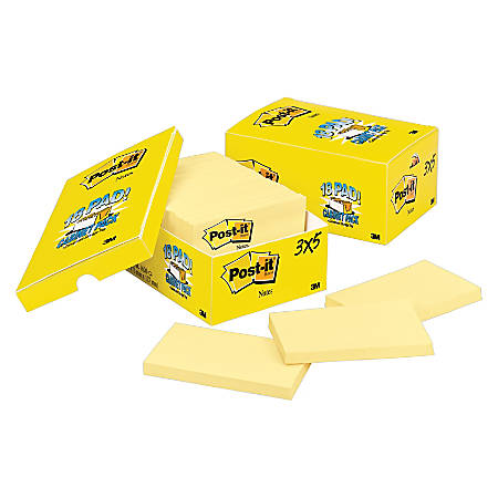"""Post it® Notes, 3"""" x 5"""", Canary Yellow, Pack Of 18 Pads"""