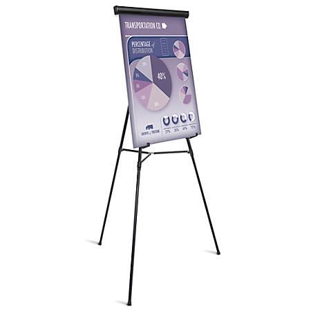 "Office Depot® Brand Presentation Easel, 35 1/2""-65""H, Black With Chart Holder"