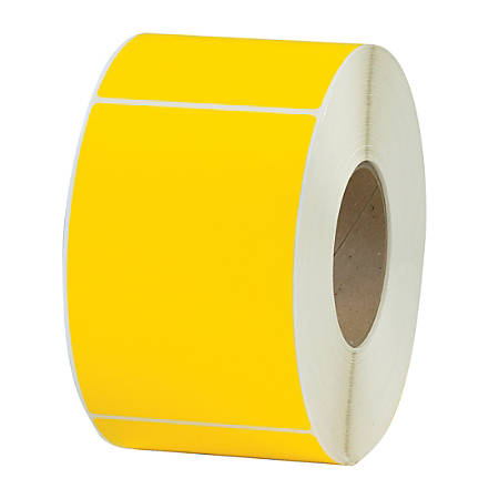 """Office Depot® Brand Colored Rectangle Thermal Transfer Labels, THL130YW, 4"""" x 6"""", Yellow, 1,000 Labels Per Roll, Pack Of 4 Rolls"""
