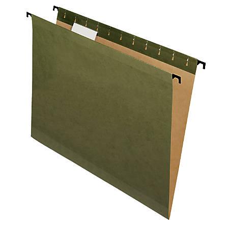 Pendaflex® SureHook™ Reinforced Hanging Folders, 1/5-Cut, Letter Size, Green, Box Of 10