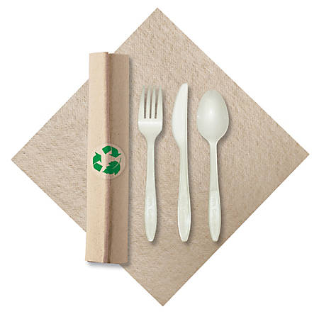 CaterWrap Pre-Rolled Cutlery, Linen-Like Napkin, Natural/White, Case Of 100 Rolls