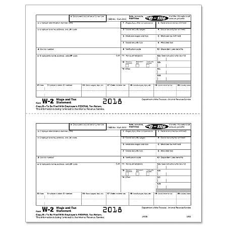 """ComplyRight™ W-2 Inkjet/Laser Tax Forms, Copy B, 2-Up, 8 1/2"""" x 11"""", Pack Of 50 Forms"""