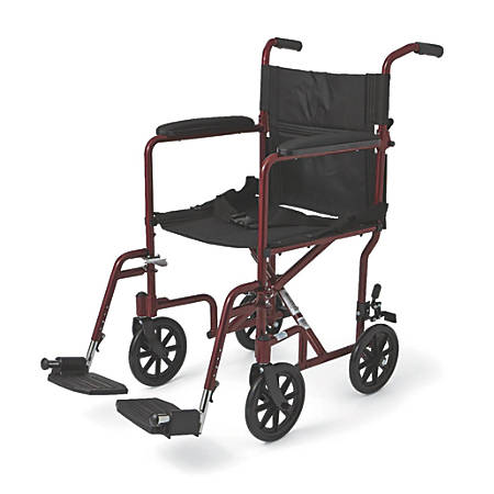 "Medline Aluminum Transport Chair, 8"" Wheels, Red"