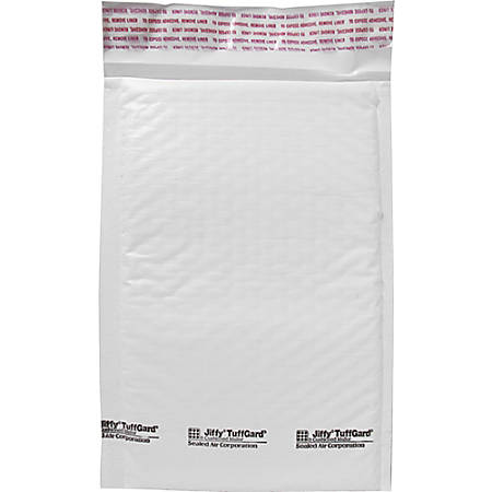 "Sealed Air Tuffgard Premium Cushioned Mailers - Bubble - #0 - 6"" Width x 10"" Length - Peel & Seal - Poly - 25 / Carton - White"