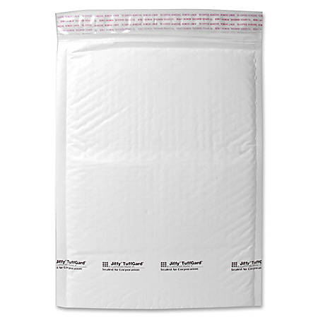 "Sealed Air Tuffgard Premium Cushioned Mailers - Bubble - #2 - 8 1/2"" Width x 12"" Length - Peel & Seal - Poly - 25 / Carton - White"