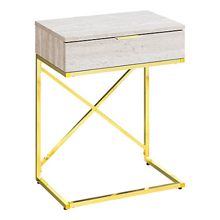 Monarch Specialties Accent End Table, Rectangular, Beige Marble/Gold