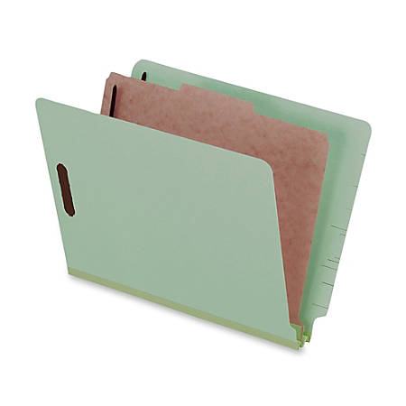 """Pendaflex® Pressboard Classification Folders With Dividers, 8 1/2"""" x 11"""", 1 Divider, 1 Partition, Light Green, Pack Of 10"""