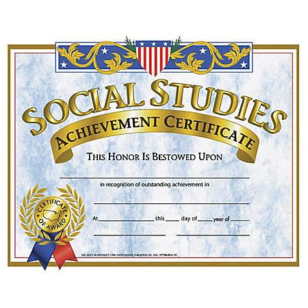 """Hayes Social Studies Achievement Certificates, 8 1/2"""" x 11"""", Blue/Gold, 30 Certificates Per Pack, Bundle Of 6 Packs"""