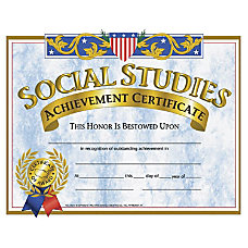 Hayes Social Studies Achievement Certificates 8