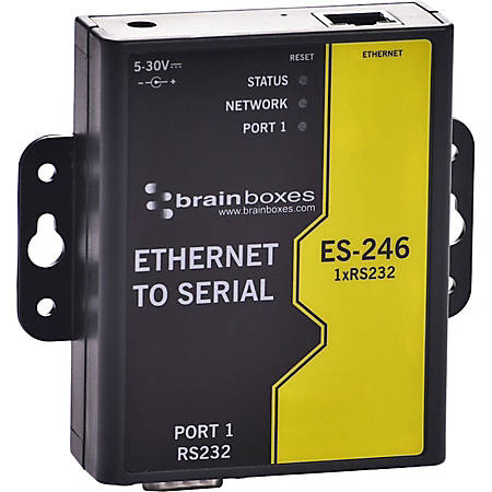Brainboxes 1 Port RS232 Ethernet to Serial Adapter - DIN Rail Mountable - PC, Linux, Mac - 1 x Number of Serial Ports External - TAA Compliant