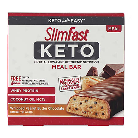 SLIM FAST Keto Meal Bar Whipped Peanut Butter Chocolate, 1.48 oz, 5 Count, 2 Pack