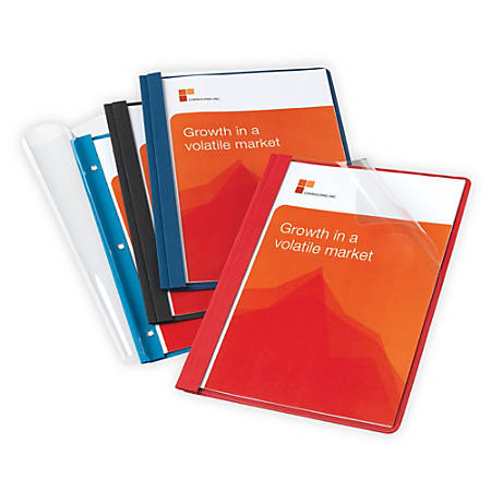 Office Depot® Brand Leatherette Clear-Front Report Covers, Assorted Colors, Pack Of 10