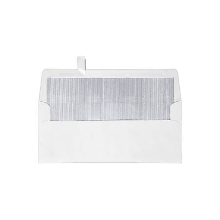 "LUX Foil-Lined Square-Flap Envelopes With Peel & Press Closure, #10, 4 1/8"" x 9 1/2"", White/Silver, Pack Of 250"