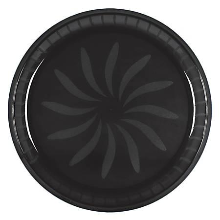 "Amscan Round Plastic Platters, 16"", Jet Black, Pack Of 5 Platters"